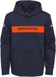 Denver Broncos Nike Youth Boys Sideline Pullover Hoody Sweatshirt - Navy