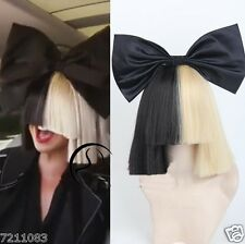 Short  sexy With Bow  Women Wigs Straight Cosplay for Sia Half Blonde and Black