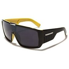Biohazard Goggle Style Yellow Mens Designer Sunglasses Metal Detail on Center