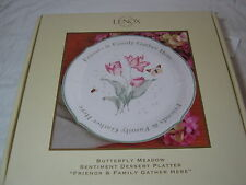 LENOX Friends & Family Gather Here Butterfly Meadow Sentiment Dessert Platter