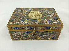 Fine Chinese Cloisonne Box Mille-Fleur Millefiori c 1910 Carved Insert