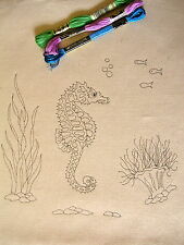 Tote bag to hand embroider Eco calico cotton SEAHORSE design CS0031 38 x 48 cm