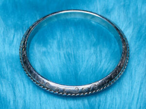 Vintage Silver Filigree BRIGHTON Signed Scroll Bangle Bracelet