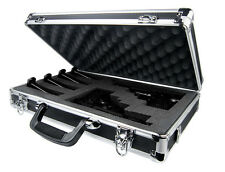 Premium Black Aluminum Double/Triple Pistol Gun Carrying Case Customizable Foam