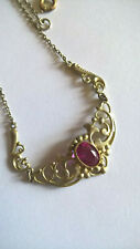 Fin Collier Ancien Strass Rouge / Necklace
