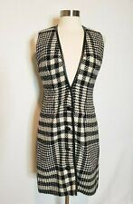 Vintage 1960s Dress Herringbone Knit Black and White Button Front Womens