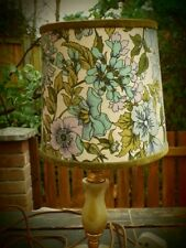 Vintage 1960/70's Kitsch! Green Floral Lampshade With Velvet Trim.