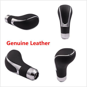 Black Genuine Leather Car Manual Automatic Gear Stick Shift Knob Shifter Lever