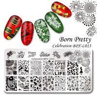 BORN PRETTY Feier Nagel Kunst Stamping Platte Schablone Neujahr Thema DIY