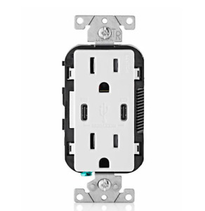 Leviton T5635-W USB Dual Type-C with Power Delivery PD In-Wall Charger
