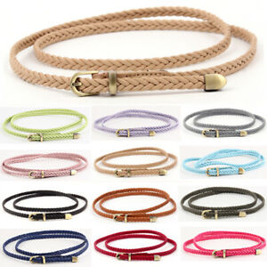 Ladies Skinny Waist Belt Braided Waistband Bronze Buckle Belts Faux Leather