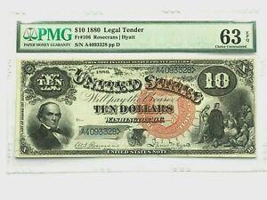 "1880 $10 Legal Tender PMG 63 EPG CHOICE UNC - Rosecrans/Hyatt ""Jackass"" Fr. 106"