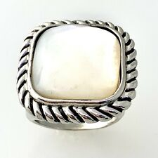 Mother of Pearl Large Statement Ring in Sterling Silver sz 7.5  #12