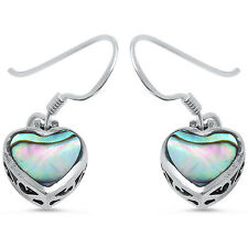 Abalone Shell Heart .925 Sterling Silver Earring