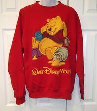 VTG 90s Mickey Inc Red Walt Disney World Winnie The Pooh Adult Sweatshirt S
