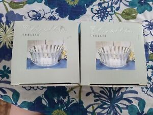 """Crystal Clear Trellis Pair of two 4.5"""" Glass Votive Candle Holders Boxed"""