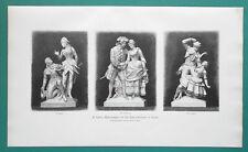 OPERA SINGERS Statues for Apollo Theater in Berlin - 1892 Victorian Era Print