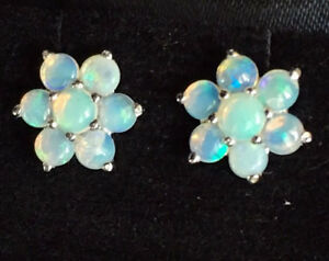 s E058 Genuine 9ct White Gold Natural Solid Opal Blossom Cluster Stud Earrings