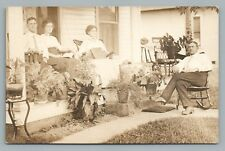 Potted Plant Porch Family RPPC Bench Swing—Rocking Chair—Antique Photo AZO 1910s