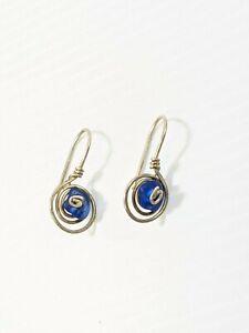 Artisan Sterling Silver 925 Spiral Blue Glass Hook Drop Earrings