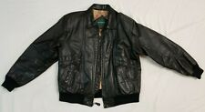 HILL & ARCHER Soft Bomber LEATHER JACKET Mens Size 42 large Black insulated tour