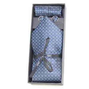 Set coordinato uomo cravatte con gemelli e pochette blu elegante cerimonia