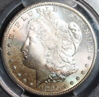 1880 S Morgan Silver Dollar CAC PCGS MS66 AWESOME RAINBOW TONING LOOK!