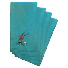 NEW LENOX CHIRP AQUA EMBROIDERED SET OF 4 POLYESTER NAPKINS