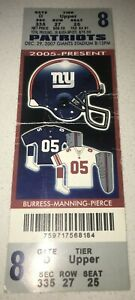 12/29/2007 Perfect Regular Season Game ticket 16-0! Patriots Giants Tom Brady TD