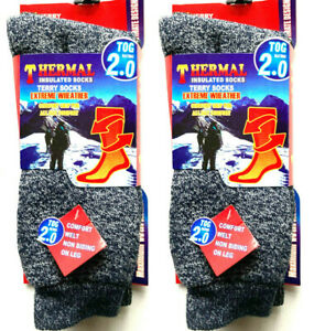 2 Pairs Mens Grey Warm Thermal Socks Winter Outdoor Work Thick Heavy Duty