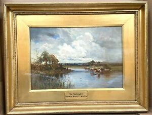 Creswick Boydell Original Oil Painting On Board On The Avon Cattle On The River