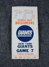 Rare 1977 TAMPA BAY BUCCANEERS vs. NEW YORK GIANTS Original Football Ticket