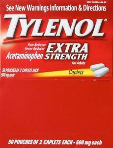 Tylenol Extra-Strength Caplets, 50 Two-Packs/Box - First Aid Kit - Exp 2023