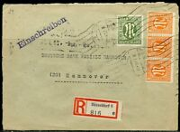 GERMANY ALLIED MILITARY GOV'T  8 & 30 pfg REGISTERED COVER DUSSELDORF - HANNOVER