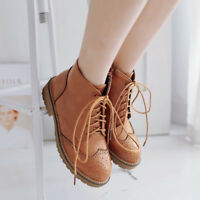 Womens Wingtip Brogue Ankle Boots Quilted High Top Lace Up Low Heels Shoes Hot
