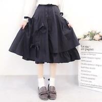 Lolita Women Harajuku Japanese JK Uniform Dress Student Long Skirt Bow Irregular