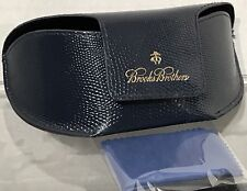 Brooks Brothers Sunglass Case Fold-Over Navy Blue w/ Generic Cleaning Cloth NWOT