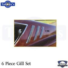 1969 Fairlane Torino Fastback Sail Panel Emblems / Gill TrimSet New 6 Pieces (Fits: Ford Torino)
