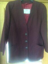 Vintage 1980s AQUASCUTUM Pure New Wool Single Breasted Collarless Ladies Jacket