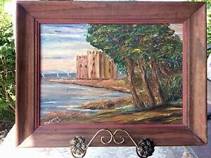 Vintage Framed Signed Acrylic Painting The Fortress Monestary Castle France 1964