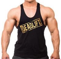 Gold Deadlift Stamp Stringer Tank Top Shirt Muscle Workout Bodybuilding fitness