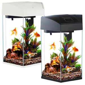 Fish R Fun Hex Aquariums 21.6L or 28L Black/White Starter Fish Tank LED Filter