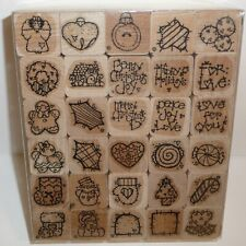 Merry Christmas 30 Rubber Stamp Set Kit Angel Snowman Wreath Gingerbread House