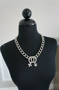 NEW Uno De 50 Thick Silver Chain War of the Sexes Statement Necklace HARD2FIND