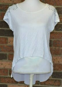 Morena Spain Size S/M White T Shirt Blouse Pleated Back Panel Studded Lace