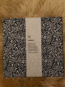 Crate & and Barrel Ellio Shower Curtain in Organic Blue Cotton, New!