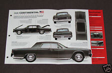 1961-1969 LINCOLN CONTINENTAL V8 Car SPEC SHEET BROCHURE PHOTO BOOKLET