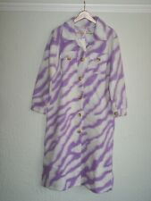80s 90s Y2K Pink Tie Dye Marble Fleece Long Coat BNWT Made in Italy 12 14 16