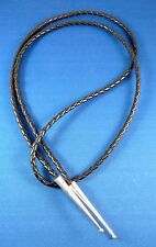 "NEW 43"" Genuine leather 4mm BOLO cord with Sterling small bead bola tie TIPS"