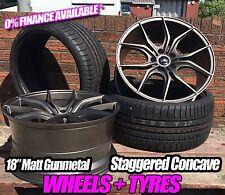 "4x GUNMETAL MATT 18"" BMW E90 CSL STYLE ALLOY WHEELS + tyres BRAND NEW IN 5X120"
